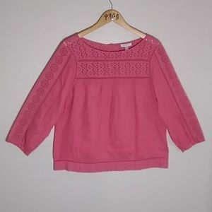 J Crew top pink linen size 12 boho baby doll